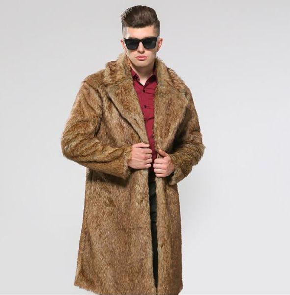 Fur Coat Mens Winter Warm Fashion Coats Man Lapel Neck Long Outerwear Coats Mens Clothes Solid Color Tops
