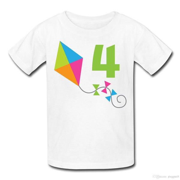 4-й день рождения Кайт детская футболка Футболка с короткими рукавами хлопок тройник Бесплатная доставка ТОП тройник мужчины свободный размер футболки
