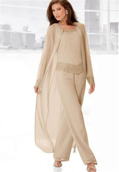 2018 New Groom Bridal Mother Suit Champagne Chiffon Mother's Formal Summer Long Sleeves Jacket Plus Size Scoop Beads Crystal Pants vestidos