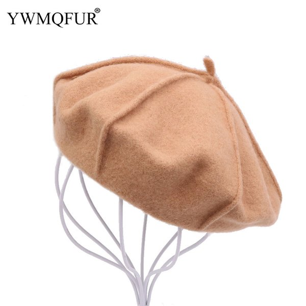 Autumn Winter Warm Vintage Wool Beret Hats For Women Casual Solid Girl Beanie Hat Female Male Caps Lady 2018 New Arrival YWMQFUR