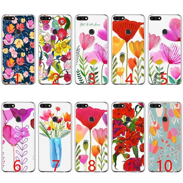 Patrón de flores Tulipanes Funda de teléfono de silicona suave para Huawei P8 P9 Lite 2015 2016 2017 P10 20 Lite P Smart
