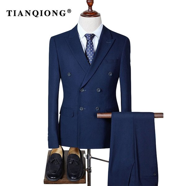 TIAN QIONG Double Breasted Slim Fit Suit Men 2017 Stylish Mens Plaid Suits Groom Wedding Suit Male Business Formal Wear QT293