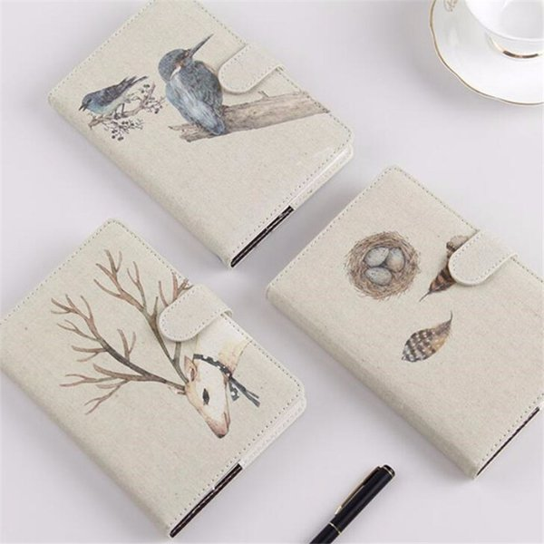 Simple Snap Bird Deer Pattern Notebook Travel Journal Diary Notepad Daily Weekly Planner Note Book Stationery Supplies Gift
