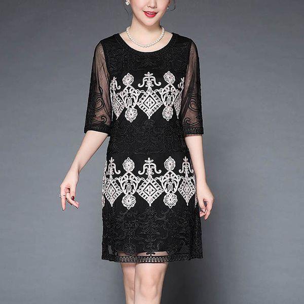 Black/red embroidery dress woman China style dress O-neck plus size elegant slim lady vintage A-line Chiffon female M-4XL