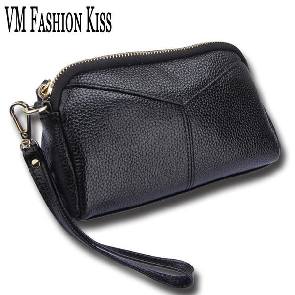 VM FASHION KISS 9 Colors Optional Genuine Leather Ladies Wristlets Hand Bags Leisure Clutch Bag Women Luxury Portable Wallet