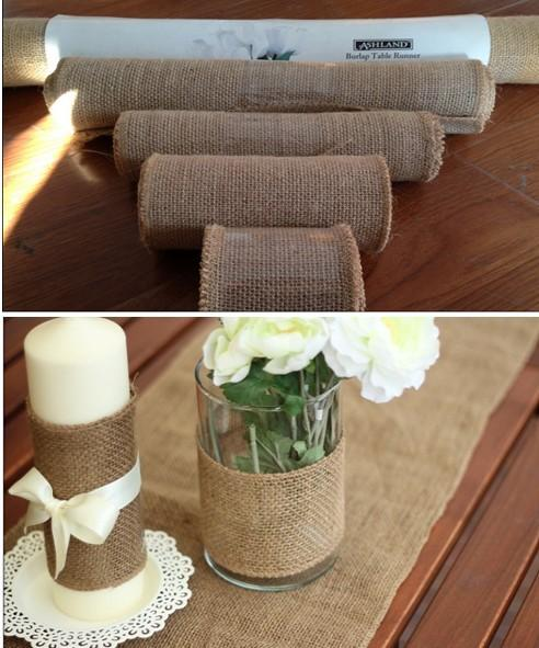 10M Hessian Burlap Ribbon Roll Vintage Rustic Natural Wedding Table Runner chair decor burlap table runner for home banquet