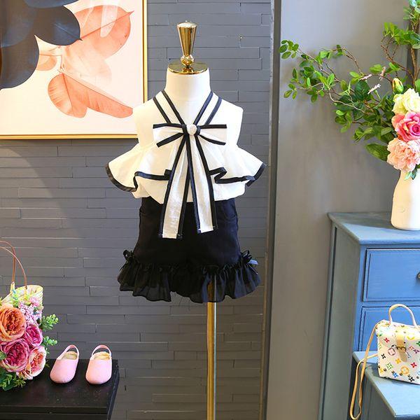 Girl Clothes Summer Bows tie falbala dew shoulder tank shirt+lace falbala elastic skirts 2 pcs sets clothes