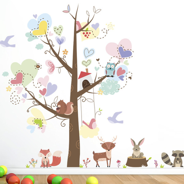 Colorful Tree with Love Heart Shape Leaves Cartoon Animals Owls Fox Squirrel Wall Decals Kids Room Nursery Decor Wallpaper Poster Graphic