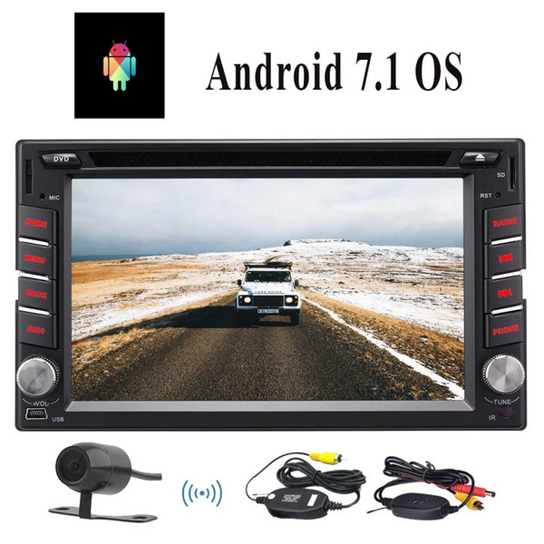 Double Din Car Stereo Receiver Android 7.1 Autoradio 6.2''Car dvd Radio Media 1080P Videos Bluetooth USB/TF/WiFi/Mirror link+wireless camera