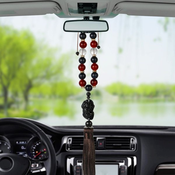 Car Ornaments Buddha Beads With Brave Troops Auto Interior Rearview Mirror