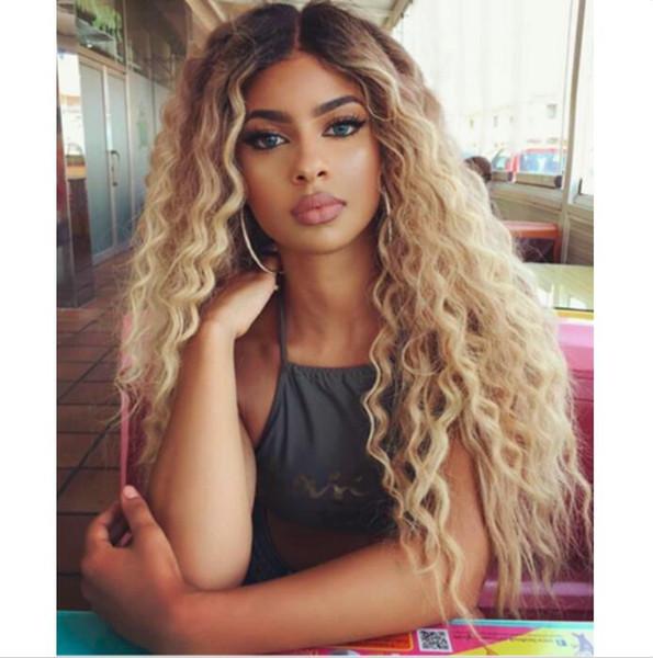 ATOZ Толстый парик волос Длинные Kinky Curly Длинные Ombre Blonde Полные парики для женщин