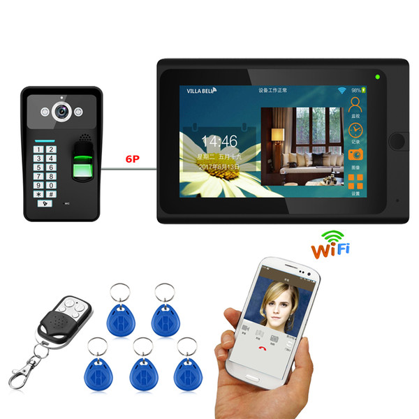 7inch Wired / Wireless Wifi Fingerprint RFID Password Videocitofono Campanello Citofono 1000TVL Wired Camera APP sblocco record
