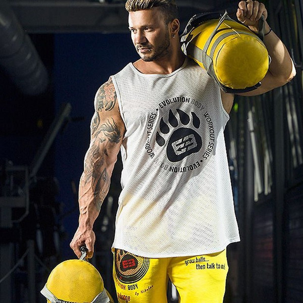 Gyms Singlets Mens Tank Tops Shirt Bodybuilding Equipment Fitness Mens Gold Gyms Stringer Tank Top Muscle Clothes