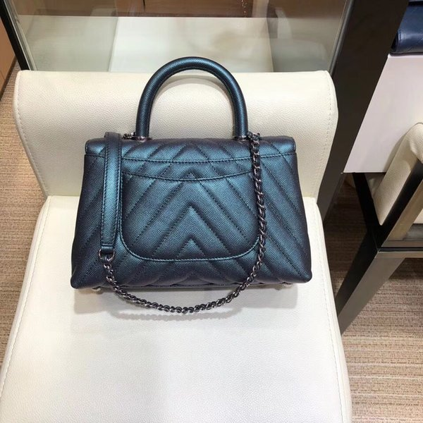 2018 new designer women handbags 7A top quality tote bag borse small caviar genuine leather chevron chain shoulder bag free shopping