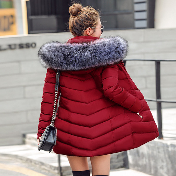 2019 womens winter jackets and coats 2018 Parkas for women 4 Colors Wadded Jackets warm Outwear With a Hood Large Faux Fur Collar