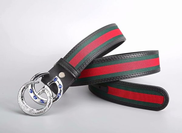 High-end design sapphire belt buckle men and women leisure belt classic green red stripe canvas belt