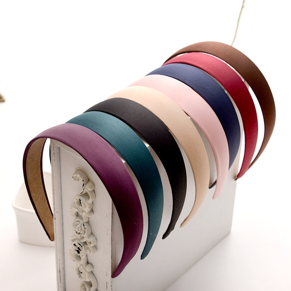 2,5 centimetri Head Hoop Hair Clasp per le donne in raso colorato ricoperto Hairbands nastro coperto copricapo accessorio per capelli