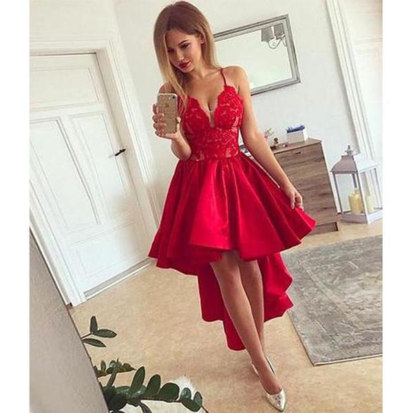 2019 High Quality Red V neck high low evening dress red homecoming dress vestidos de fiesta