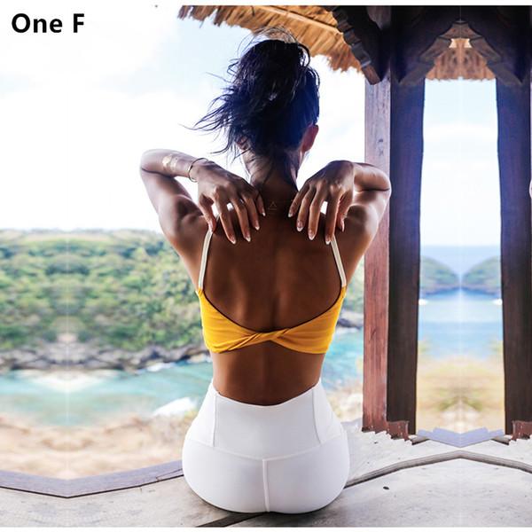 One F Openback Fitness Crop Top para mujer Correa Sports T-shirt Ropa de gimnasia con almohadilla extraíble Yellow Quick Dry Yoga Top Bra