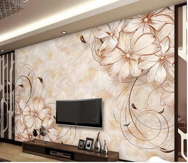 Acheter Papier Peint Personnalisé Pour Murs Boutique Européenne Modèle Salon Marbre Tv Fond Peinture Murale Papier Peint De 39 18 Du Yeye2000