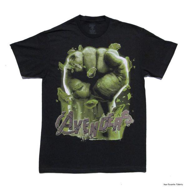 Лето с коротким рукавом рубашки топы S~3Xl большой размер хлопок тройники Бесплатная доставка Мстители фильм Халк кулак лицензированных взрослых футболка