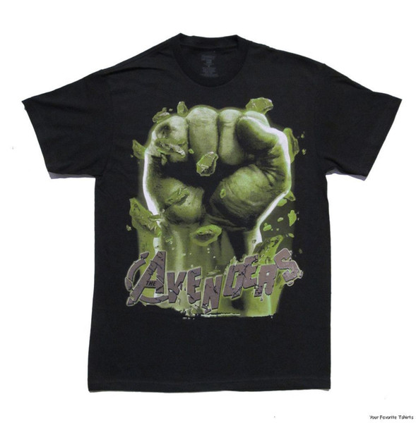 Camisetas de manga corta de verano Tops S ~ 3Xl Camisetas de algodón de gran tamaño Envío gratis Avengers Movie Hulk Fist Licencia para adultos Camiseta