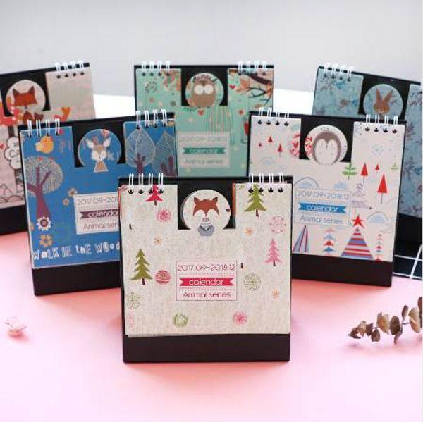 best selling New Arrived 2018 Animals Series Mini Table Calendars Desk Calendar Office School Supplies 2017.9~2018.12