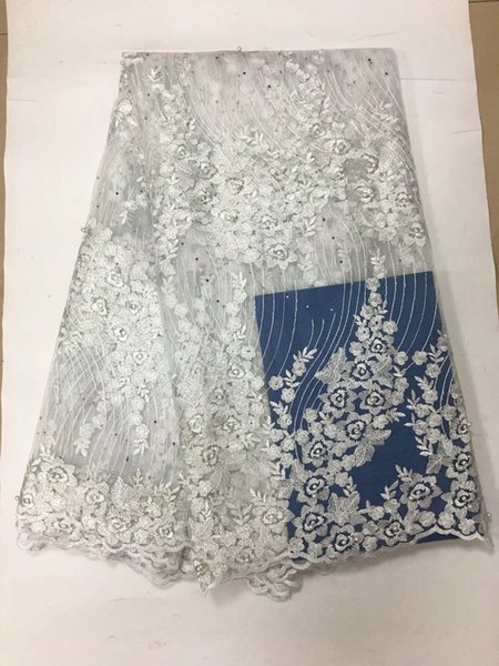 FCT1012 (5yards/pc) fancy embroidered African French net lace fabric in Pure white with beads and stones for graceful dress