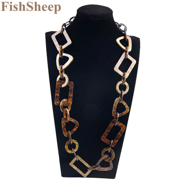 Fishsheep 2017 Fashion Necklaces Pendants Vintage Big Chain Link Acrylic Geometric Collar Long Necklace For Women Jewelry