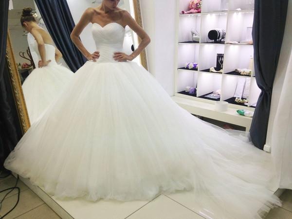 Acheter Robe De Bal Robe De Mariée Avec Longue Traîne Chapelle 2019 Princesse Sans Bretelles Robes De Mariée En Tulle Plissé Robe De Mariee De 15037