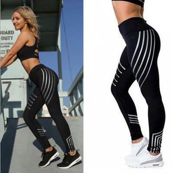 Pantalones de yoga de la aptitud de las mujeres del estilo europeo y americano Látex de las medias de los deportes y ocio impresos láser Polainas Tousers blancos negros
