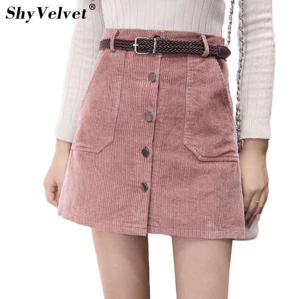 2019 Autumn New Corduroy Skirts Womens Single Breasted High Waist A Line Skirt Pockets Pink Khaki Black Slim Mini Skirt From Blueberry15 2564