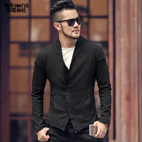 Men washed European style short black suit jacket new design metrosexual man slim burr suit blazer fashion winter outwear