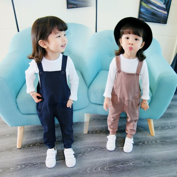 2018 Hot Sale Overalls Kids Girls Autumn Wear New Korean Style Straps Pants Suits Have Two Colors Can Select And Free Shipping