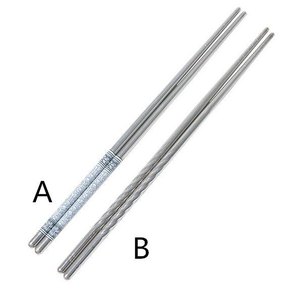 New Flatware Durable Food Stick Chinese Traditional Flowers Pattern Stainless Steel Chopsticks Tableware Christmas Gifts 8.8inch