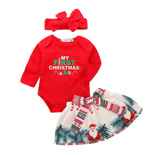 my first christmas baby outfits girls santa claus clothing sets infant Long Sleeve christmas suit rompers+skirts+headbands 3pcs