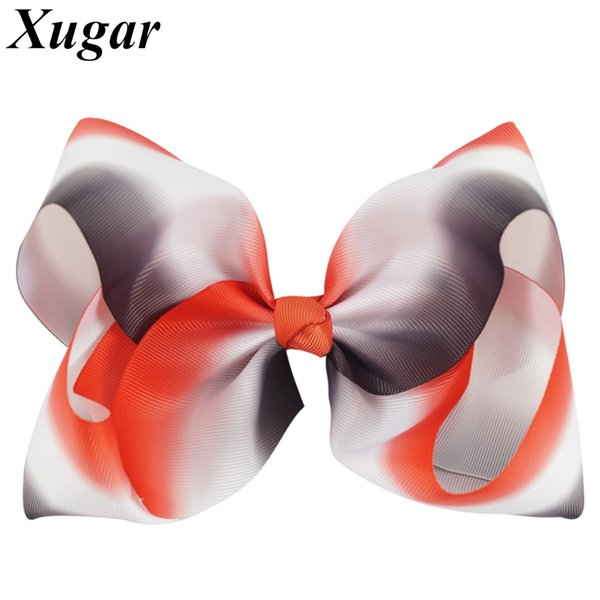 7 Inch Grosgrain Ribbon Gradient Handmade Hair Bow Girls Hair Accessories Trendy Large Bows Hairgrips Clips For Kids