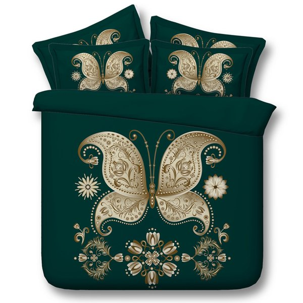 3D green bedding sets queen christmas duvet cover golden butterfly bedlinens single twin king cal king size bedspreads home textiles 3pc