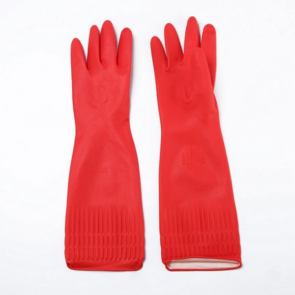 Red Waterproof Household Gloves Warmer Dishwashing Glove Water Dust Stop Cleaning Long Rubber Gloves Housework Kitchen Tools