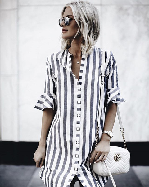 Summer Striped Black White Shirt Dress New Fashion Women Casual Ladies Flare Half Sleeve Vestido Button Loose O Neck Dresses