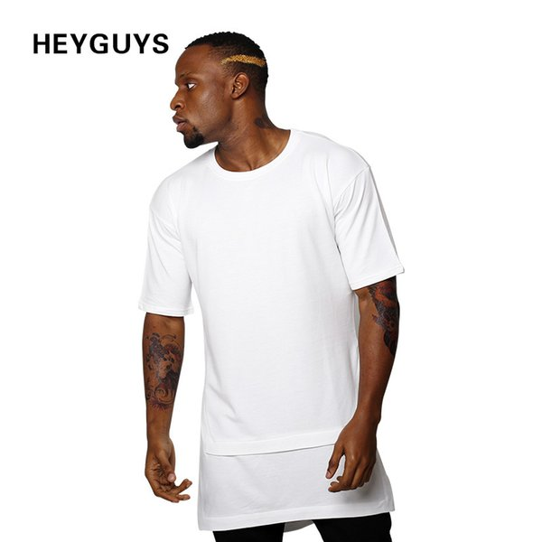 HEYGUYS 2017 hip hop t shirts men oversize t-shirts black white Fake two pieces length captain america t shirt fashion S917