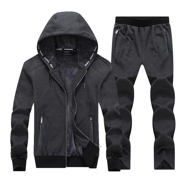 Cálido Invierno Sport Suits Hombres Hoodies Sets 7XL 8XL Gran Tamaño Mens Gym Ropa deportiva Fleece Fabric Running Jogging Traje Hombre Chándal
