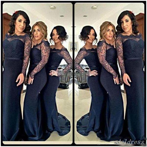 Country Mermaid Bridesmaid Dresses 2018 Long Sleeve Bateau Sweep Train Lace Garden Arabic Wedding Guest Gowns robes de demoiselle d'honneur