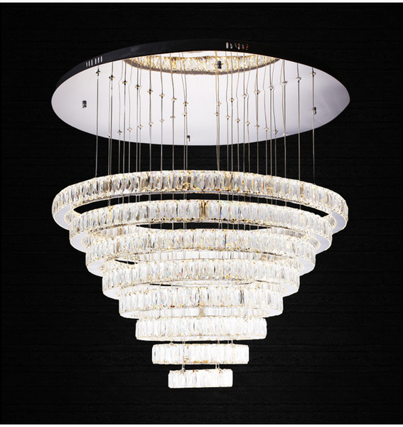 """Contemporary Crystal Pendant Lights K9 Crystal Chandeliers Lighting With 6/8 Crystal Circulars D23.6""""*H74.6"""""""