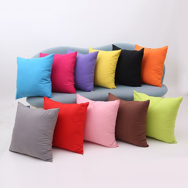 best selling 45x45cm pillow case home sofa throw pillowcase pure color polyester cushion pillow cover candy color christmas decor gift