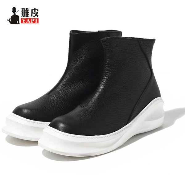 Hight Quality Genuine Leather Mens Riding Boots Black Slip On Martin Boots Winter Ankle Boots Trendy Heighten Shoes Boots Pharmacy Chukka Boots From