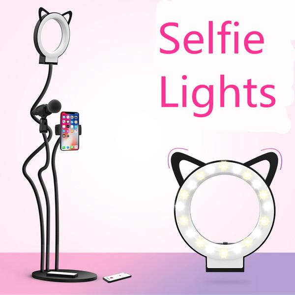 Halka şeklindeki Makyaj Lamba Için Fotografik Lamba selfie Lambaları Cep telefonu tutucu Ağ iphone8 Için Samsung Samsung doğrudan yayın selfie ışıkları