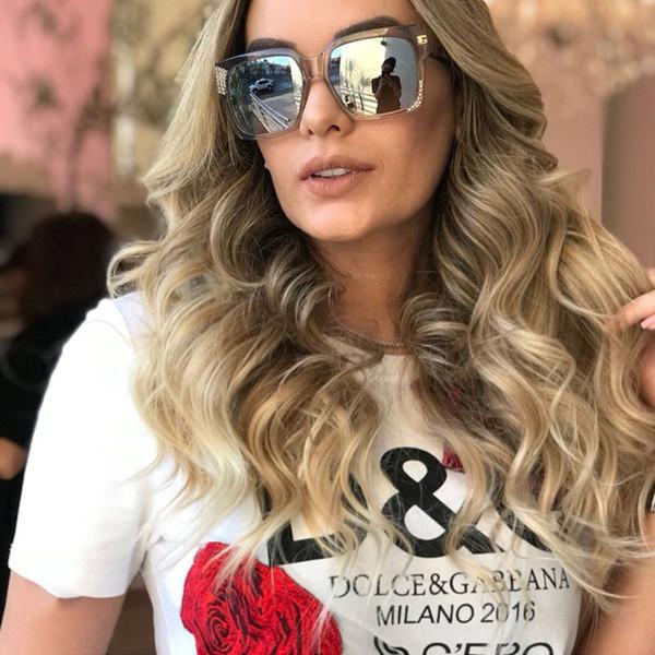 Pop Age Moda Diamante Oversized Óculos De Sol Mulheres Kim Kardashian Condução D Quadrado Óculos De Sol Homens Óculos Oculos de Sol Gafas