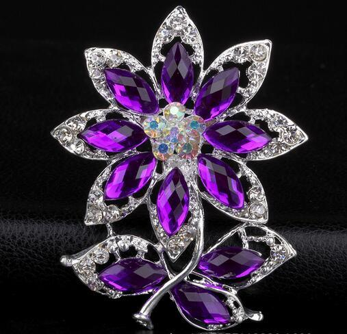 Luxury Fashion Women Gorgeous Crystal Rhinestone Flower Bouquet Corsage Brooches Pin Breastpin Wedding Party Jewelry Accessory 5.2*6.5cm