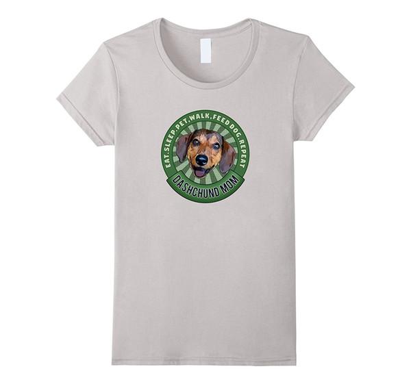 Tee shirt femme Tee Shirts Femme Tee Shirt Femme 2018 Ete Cool Ladies Tees Dashchund Mom Eat Sleep Dog Répéter T Shirt